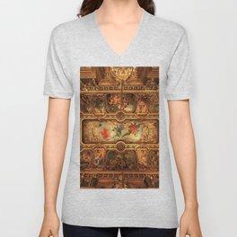 Midnight with Botticelli, Raphael, Michelangelo, & Perugino, Sistine Chapel, Rome Unisex V-Neck