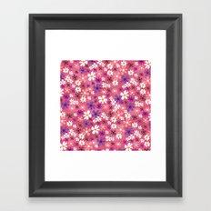 Retro Pink Flowers Framed Art Print