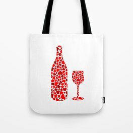 A potion of love- bottle and glass with red hearts Tote Bag