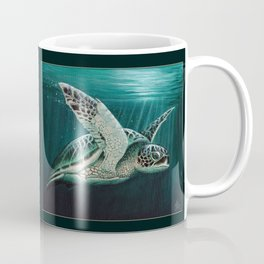 """Moonlit"" by Amber Marine - Sea Turtle, Acrylic Painting, (Copyright 2015) Coffee Mug"
