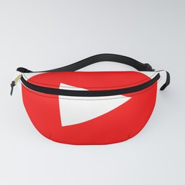 Play sign illustration. Vector. Red icon inside black focus corners on white background. Isolated. Fanny Pack