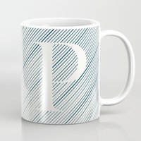 striped Mugs featuring Striped P by DLUTED DESIGN