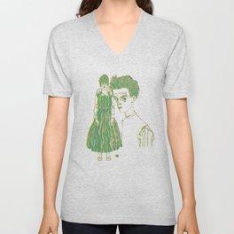 Egon and Edith Schiele Striped Unisex V-Neck