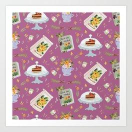 Tea time pastel pattern - PINK  Art Print