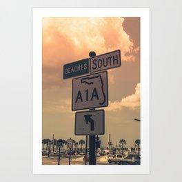 A1A South To The Beaches Art Print