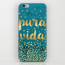 Pura Vida Gold on Teal iPhone Skin