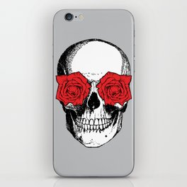Skull and Roses | Grey and Red iPhone Skin