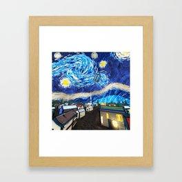 Tardis Art Starry City Night Framed Art Print