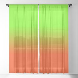 Neon Green and Neon Orange Ombré  Shade Color Fade Sheer Curtain