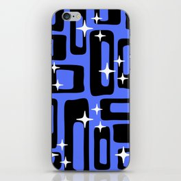 Retro Mid Century Modern Abstract Pattern 581 Black and Blue iPhone Skin