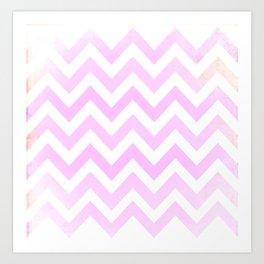 Pale Pink textured Chevron Pattern Art Print