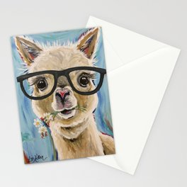 Cute Alpaca With Glasses Stationery Cards