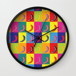 Retro Pop Art Chilli Peppers on Colourful Squares Wall Clock