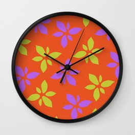 Illustration of flowers(orange background) Wall Clock
