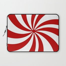 festive winter holiday candy land red and white lollipop candy swirls Laptop Sleeve