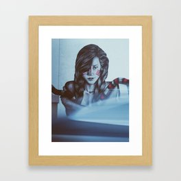 Girl with snake mural Framed Art Print