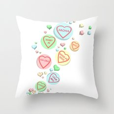 Kiwi Conversation Hearts by Squibble Design Throw Pillow