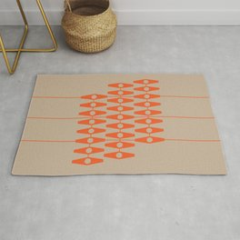 abstract eyes pattern orange tan Rug