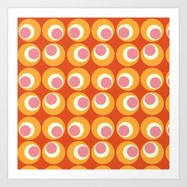 Orange and Pink Retro Circles Art Print
