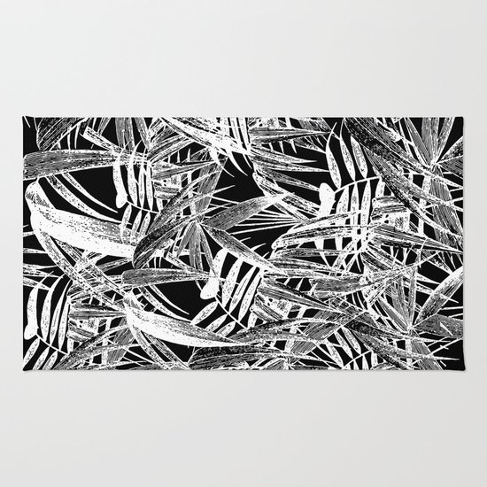 Black And White Vintage Tropical Palm Leaf Pattern Rug By