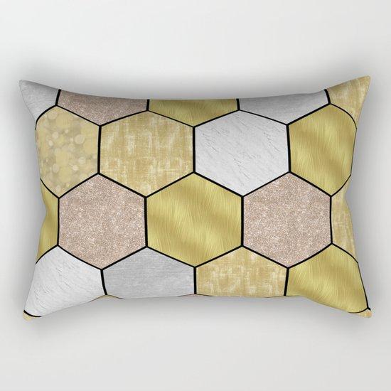 Golden honeycomb on black geometric Rectangular Pillow
