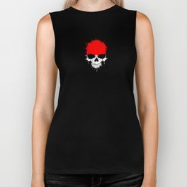 Flag of Indonesia on a Chaotic Splatter Skull Biker Tank