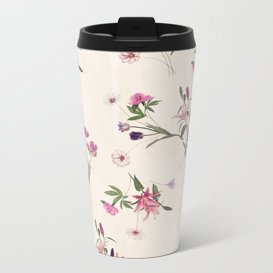 Scattered Floral on Cream Metal Travel Mug