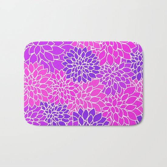 Shades Of Purple - Bright Floral Pattern - Flower Art Bath Mat