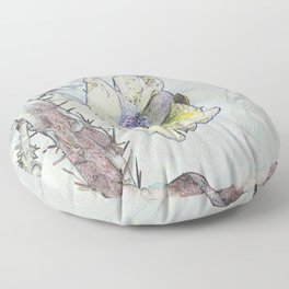 Cacti Flower Drawing Floor Pillow
