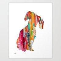 dachshund Art Prints featuring  Dachshund  by WatercolorGirlArt
