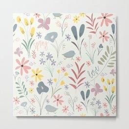 Spring Florals in Mint Metal Print