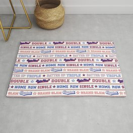 Baseball Sayings Pattern - Red White Blue Rug