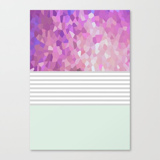 Pink Dreams on grey stripes Canvas Print
