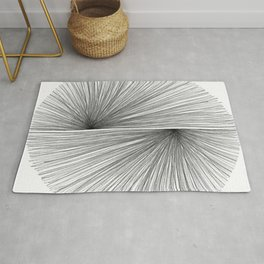 Mid Century Modern Geometric Abstract Radiating Lines Rug