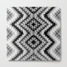 Black White Diamond Crochet Pattern Metal Print