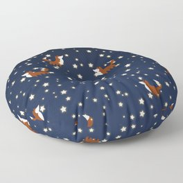 Foxes and stars pattern Floor Pillow