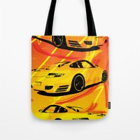 porsche Tote Bags featuring Porsche  by deadfish