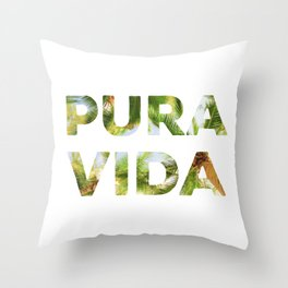 Pura Vida Costa Rica Palm Trees Throw Pillow