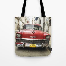 Vintage Red American Car on the Streets of Havana. Tote Bag