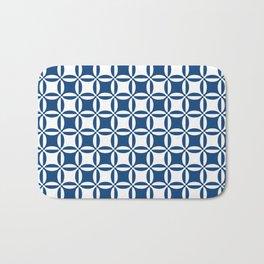 Geometry illusion in blue Bath Mat