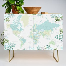 Mint and green floral world map with cities Credenza