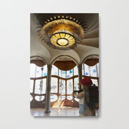 The Little Backpacker checking out Casa Batllo in Barcelona Metal Print