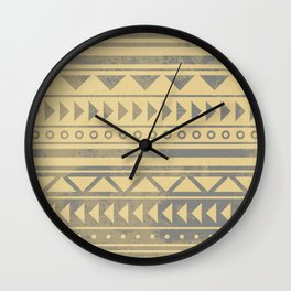 Ethnic geometric pattern with triangles circles and lines Wall Clock