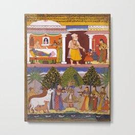 Scenes from the Childhood Krishna, from a Sur Sagar Manuscript Metal Print