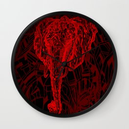 Elephant Mosaic (Red on Black Variant) Wall Clock