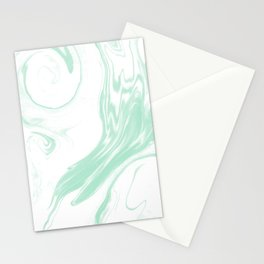 Marble mint 3 Suminagashi watercolor pattern art pisces water wave ocean minimal design Stationery Cards