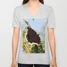 Mourning Cloak Butterfly Sunning Unisex V-Neck