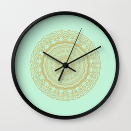 Mandala Lace in Gold and Mint Wall Clock