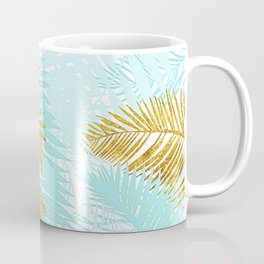 Aloha - Tropical Palm Leaves and Gold Metal Foil Leaf Garden Coffee Mug