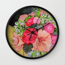 Pink and Peonies Wall Clock